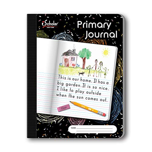 - iScholar Primary Composition Book, Journal, Unruled Top, .5 Inch Ruled Bottom Half, 100 Sheets, 9.75 x 7.5 Inches, Black Marble (10116)