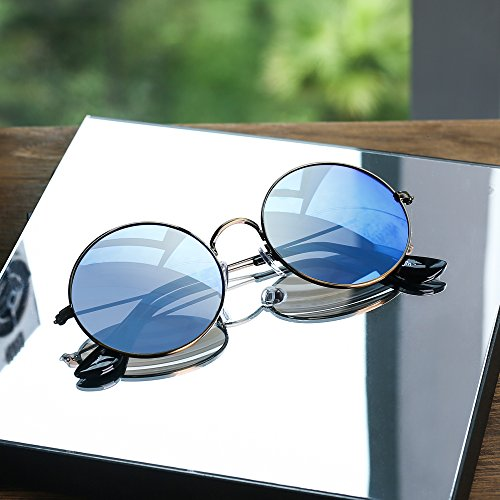 d3c67d6c9b Amazon.com  Retro Round Flash Sunglasses Reflective Circle Lens Alloy  Eyeglasses Men Women (Bronze Revo Blue)  Shoes