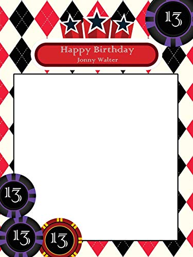 Custom Home Decor Casino Gambler Design Photo Booth Frame Prop - Size 36x24, 48x36; Personalized Poker Chips Design Photo Frame - Handmade DIY Party Supply Photo Booth Props