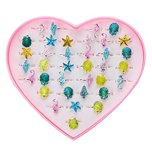 inger Rings Set Seahorse Seastar Conch with Pink Heart Shaped Box Jewelry Toy for Kids ()