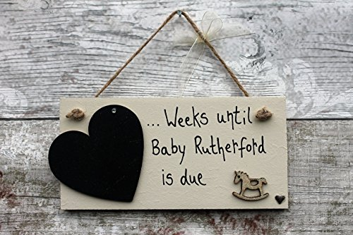 Madeat94 personalized baby countdown pregnancy gift plaque sign madeat94 personalized baby countdown pregnancy gift plaque sign baby shower present gift with rocking horse negle Image collections