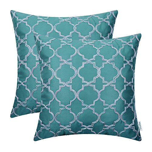 Pack of 2 CaliTime Faux Silk Throw Pillow Covers Cases for Home Sofa Couch 18 X 18 Inches, Gradient Quatrefoil Accent Geometric Chain Embroidered, Teal