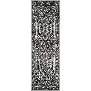 2'6 x 16' Vintage Oriental Silver Black Runner Rug, Polypropylene Dark Shadow Transitional Diamond Medallion Artistic Patterned Border, Rectangular Hallway Living Room Accent Carpet