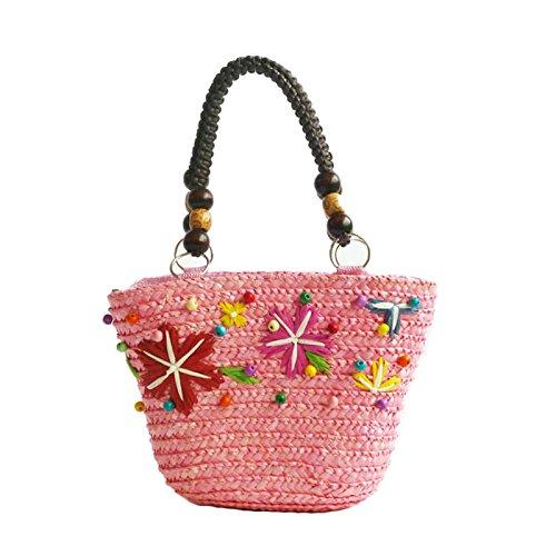 Sac d'épaule en corde Myll, carte d'été, style plage tissée, style bohème, rose1 rose1