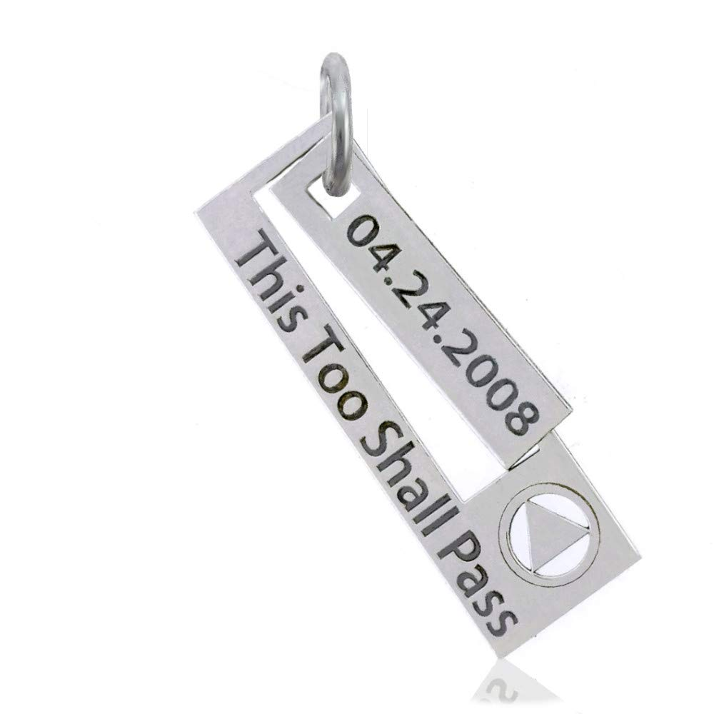 12 Step Jewelry Custom AA Unity Pendant with Engraved Dry Date and Slogan