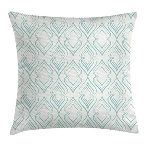 """Ambesonne Pale Blue Throw Pillow Cushion Cover, Abstract Pattern of Curvy Lines in Moroccan Style Retro Vintage Eastern, Decorative Square Accent Pillow Case, 20"""" X 20"""", Blue White"""