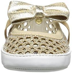 Stuart Weitzman Baby Layla Perf Shimmer Gold Ballet Maryjane (Infant/Toddler), Platinum Noir, 2 M US Infant