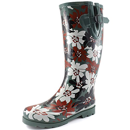Color Rainboots Mid floral Boot Calf Waterproof Multi and Snow Women's High G Rain Knee Puddles fc6W0xq7Y