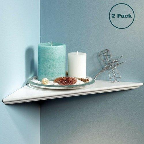 Knape & Vogt EZ12/1WH 12'' White Instant Corner Shelves Single Pack (2 Pack)