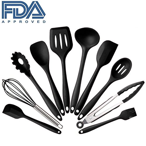 10Pcs/set Silicone Heat Resistant Kitchen Cooking Utensils spatula Non-Stick Baking Tool tongs ladle gadget by BonBon (black)