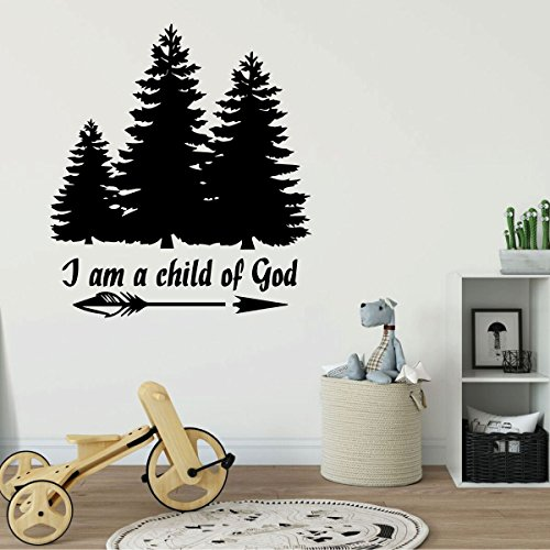 Christian Home Decor - I Am a Child of God With Tree Design - Vinyl Wall Decal for Playroom, Nursery, Children's Bedroom, Church -
