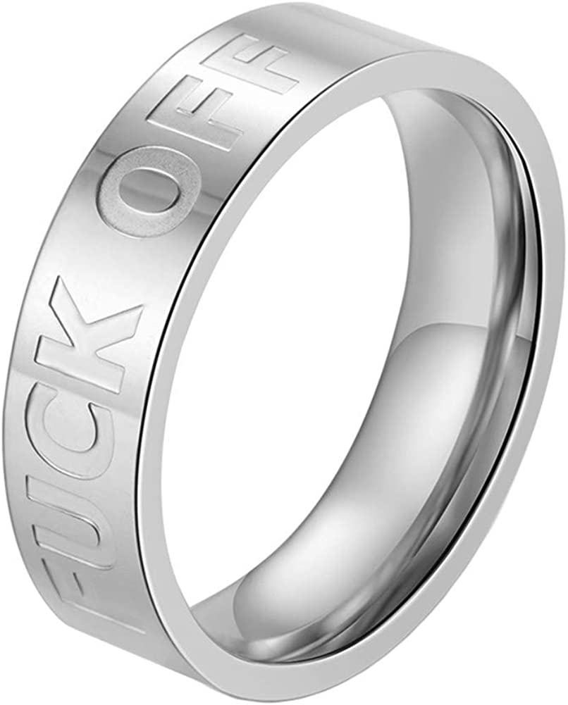 INRENG Men's Stainless Steel Cool Personalized Ring Engraved Fuck Off Inspirational Band Silver Gold