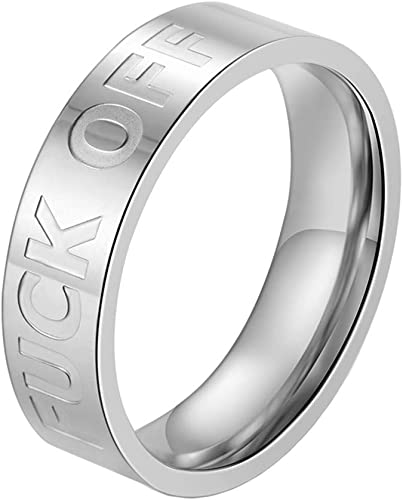 Punk Stainless Steel Silver Adjustable Stacking Ring Letter Engraved Keep Going