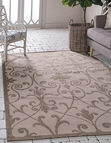 - Unique Loom Outdoor Botanical Collection Traditional Border Transitional Indoor and Outdoor Flatweave Beige /Brown  Area Rug (8' x 11')