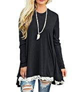 Myobe Women's Casual Scoop Neck A-Line Solid Color Lace Long Sleeve Pullover Tunic Tops Blouse T-Shirt Shirt Dress