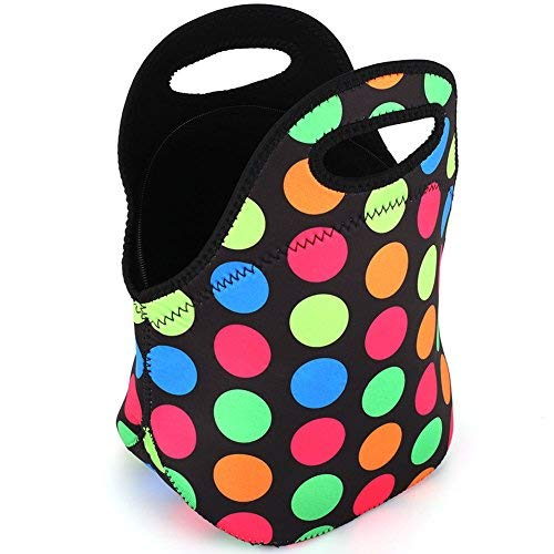 Neoprene Lunch Bag,LOVAC Thick Insulated Lunch Bag - Durable & Waterproof Lunch Tote With Zipper For Outdoor Travel Work School (Colorful Dot)