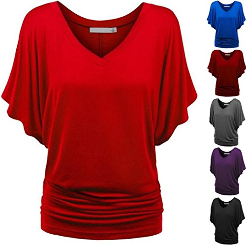 Causel T-Shirt Plus Size Tops Tunic,Women Loose T-Shirt Solid Short Sleeve Tops Deep V Neck Blouse [Clearance]