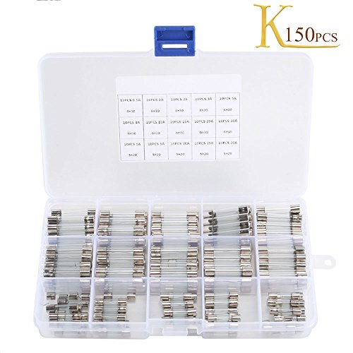 Fast-blow Glass Fuses KINDPMA 150 Pcs Quick Blow Car Glass Tube Fuse Assorted Kit Amp 250V 0.5A 1A 2A 3A 5A 8A 10A 15V 20A 30A 6x30mm and 250V 1A 5A 10A 15A 20A 5x20mm for Motorbike Electronic Repair