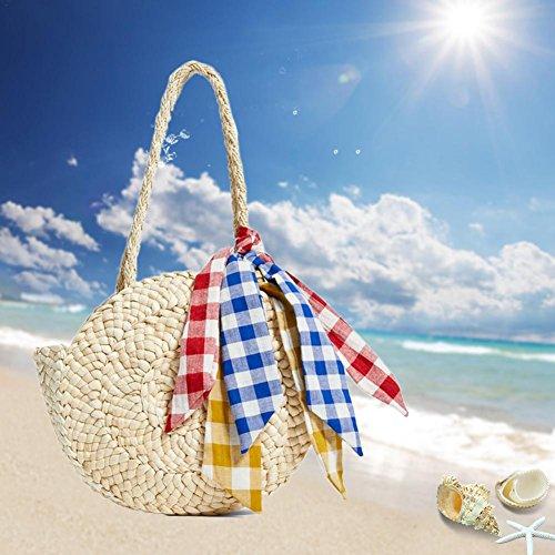 viaje el regalo playa en nbsp;– para tejida redondo ideal mujer bolsa para de de niña Bolsa bolsa hombro Mujer ratán playa pajita pajita nbsp;fancylande bolsa vacaciones wxqZTOR