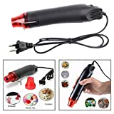 Mini Embossing Heat Gun DIY Electric Drying Nozzle Crafts and Arts Heating Shrink Wrap Hot Air Gun 300W Power up to 200°C, Black