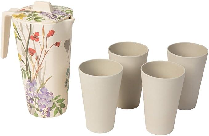 1,2 l avec couvercle B/&F Carafe en bambou 100 /% naturel de couleur verte tr/ès r/ésistante. /écologique