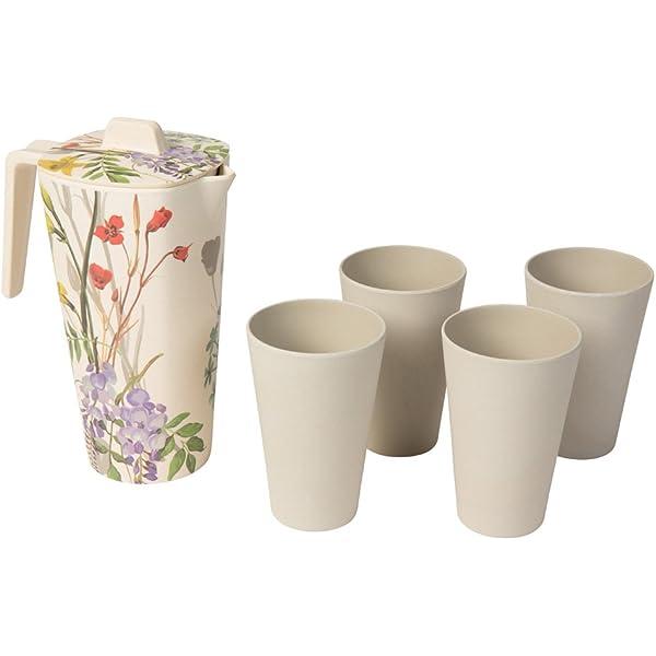 Libre de BPA y sustentable I jarro de Agua Jarra de Agua BIOZOYG Conjunto bamb/ú 5-Pieza I 1,2 litro Jarra con Tapa y 4 Tazas I Jarra de bamb/ú a Prueba de lavavajillas