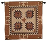 Harvest Log Cabin Wall Hanging Quilt 44 Inches by 44 Inches 100% Cotton Handmade Hand Quilted Heirloom Quality