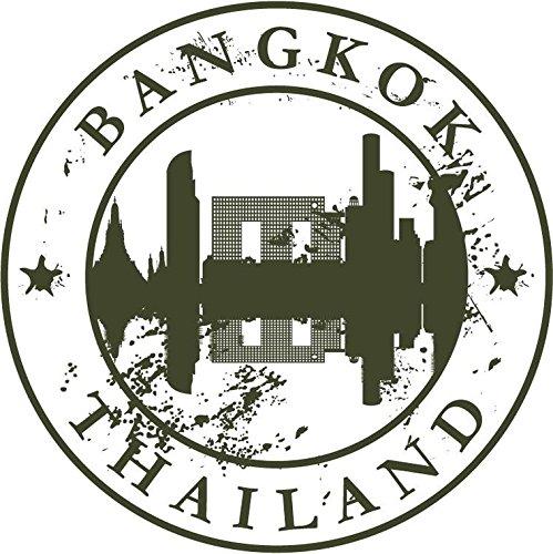 "Zirni Bangkok Thailand Travel Retro Rubber Stamp Sticker Decal Design 5"" X 5"""