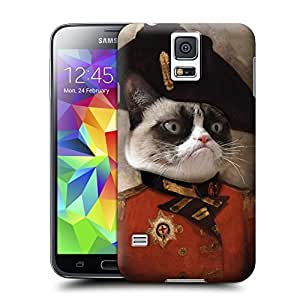 Unique Phone Case Personal animal head pattern Grumpy General Cat Hard Cover for samsung galaxy s5 cases-buythecase