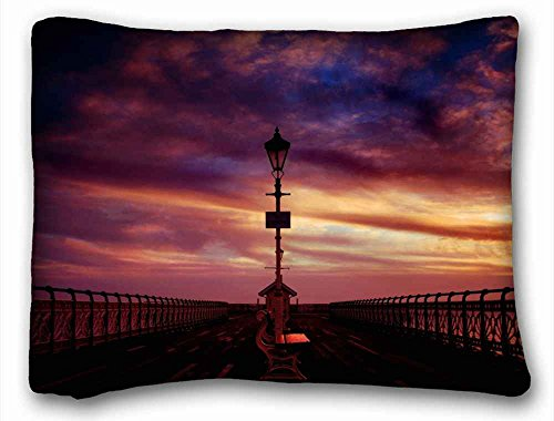Custom Characteristic ( Nature bench piers sea images evening decline sky ) Pillow Covers Bedding Accessories Size 20