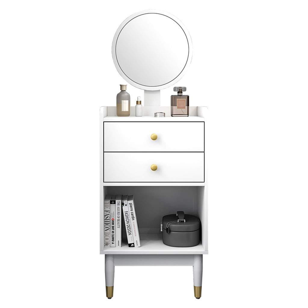 Xilinshop Kosmetikset mit höhenverstellbarem Rundspiegel Schlafzimmer Nachttisch Schminktisch Kosmetikspiegel mit 2 Schubladen (weiß)