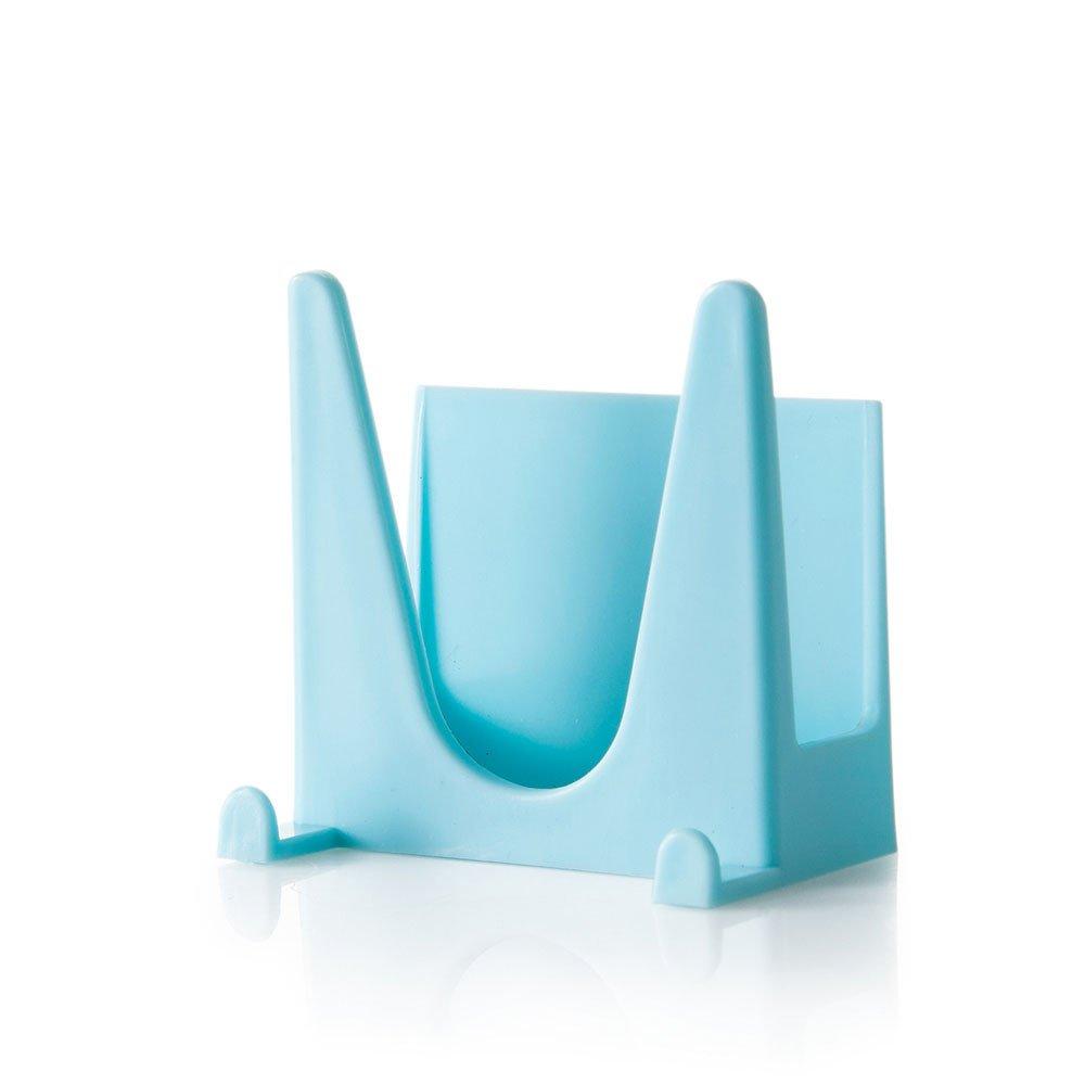 Connia Plastic Kitchen Pot Pan Cover Shell Cover Sucker Tool Bracket Storage Rack (Blue)