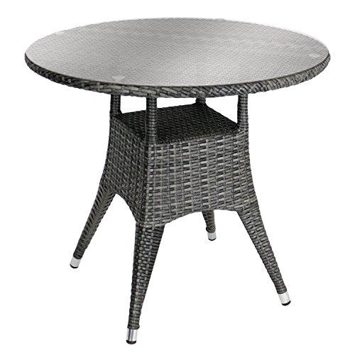 Bistrotisch Balkontisch Glastisch Rattantisch Beistelltisch Gartentisch - Ø80xH72, Aluminiumgestell, hochwertiges Poly-Rattangeflecht, 5mm Sicherheitsglasplatte, grau-meliert - Gastro- und Objektgeeignet