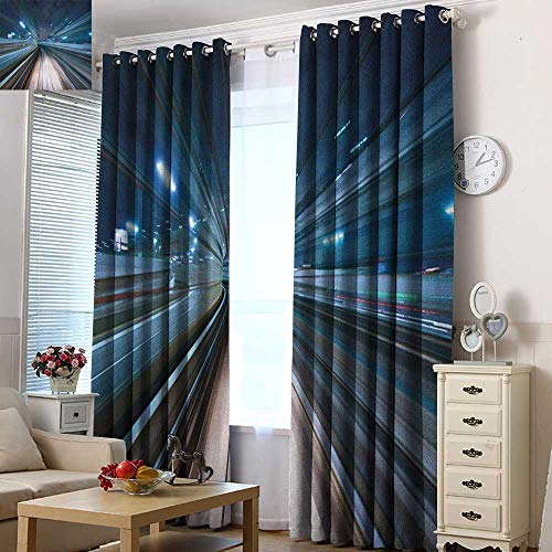Acelik Sliding Door Curtains Modern Motion Blur of City and Tunnel Moving Monorail in Tokyo Futuristic Transportation Curtains for Living Room 72