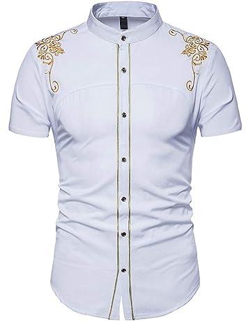 Camisa Slim Fit de Verano para Hombre Camisas de Manga Corta Formales Casual Tops Estampados Camiseta