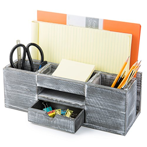 - MyGift Rustic Gray Wood 6-Compartment Desktop Document & Office Supplies Organizer