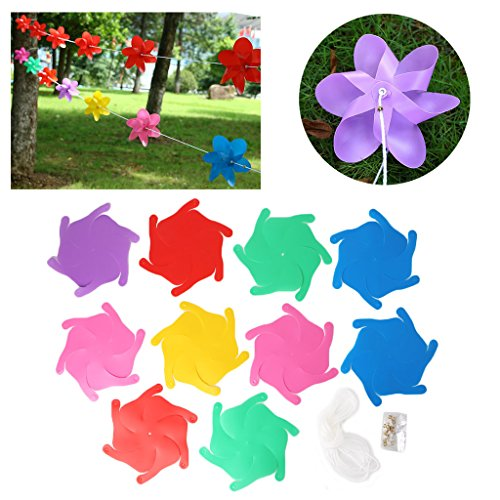 EA-STONE DIY Rainbow Pinwheel String For Party Birthday Wedding Halloween Christmas Home Garden Yard Decor,8M & 10Pcs Windmill (Rainbow Wind Generator)