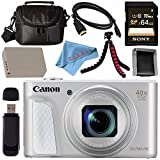 Canon PowerShot SX730 HS Digital Camera (Silver) #1792C001 + NB-13L Lithium Ion Battery + Sony 64GB SDXC Card + Micro HDMI Cable + Carrying Case + Memory Card Wallet + Flexible Tripod Bundle
