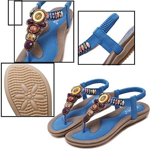 Doux Sandales Perlé Beach Chaussures Strass Été Femme Katliu Bohême Blue Plat Plage tO7qfwdT