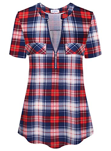 Bulotus Casual Tunic Tops for Women Plaid Shirts Short Sleeve (Red Blue Plaid, Large)