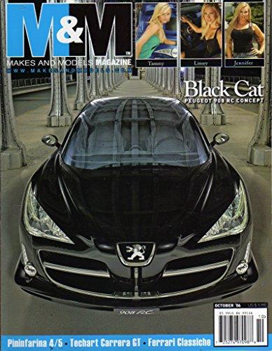 Price comparison product image M&M Makes and Models October 2006 Magazine BLACK CAT PEUGEOT 908 RC CONCEPT Pininfarina 4 / 5 TECHART CARRERA GT Ferrari Classiche TESLA ROADSTER: MINIMALISTIC DESIGN APPROACH
