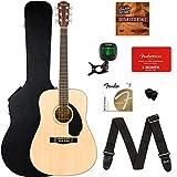 hard guitar case fender acoustic - Fender CD-60S Dreadnought Acoustic Guitar - Natural Bundle with Hard Case, Tuner, Strap, Strings, Picks, Fender Play Online Lessons, and Austin Bazaar Instructional DVD