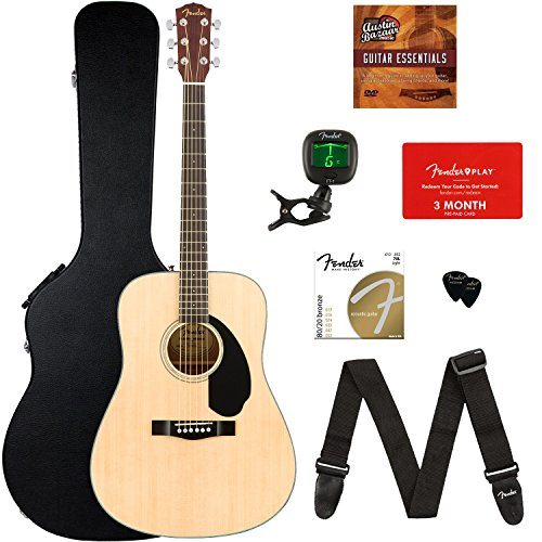 Fender CD-60S Dreadnought Acoustic Guitar - Natural Bundle with Hard Case, Tuner, Strap, Strings, Picks, Fender Play Online Lessons, and Austin Bazaar Instructional - Dreadnought Mahogany