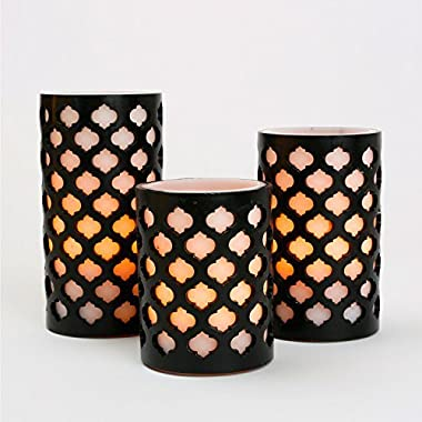 Set of 3 Moroccan Gate Flameless Wax LED Candles with Timer - Batteries Included