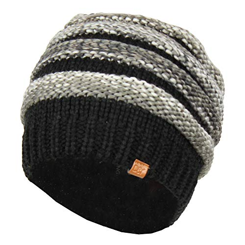 David & Young Black Striped Marled Ribbed Knit Beanie Hat, Oversized Chunky Skully Cap