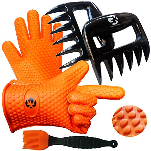 Grace Kitchenwares 3 n 1 BBQ Accessories Dream Set: Silicone BBQ Gloves Plus Meat Claws Plus Silicone Basting Brush Plus eBooks w/ 344 Recipes