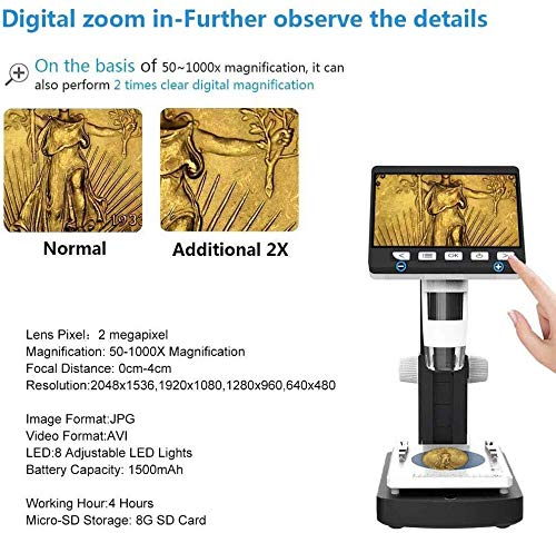 XINHUANG LCD Digital Microscope,4.3 Inch 50X-1000X Magnification 1080P Compound Handheld Microscopes Camera with Rechargeable Mini HDMI Port 8 LED Lights