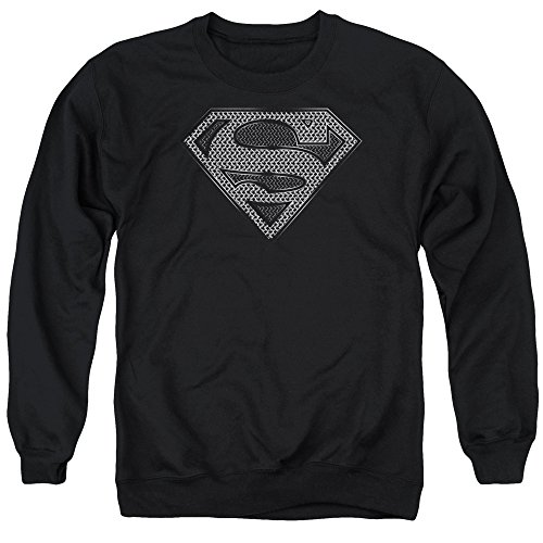 Unisex Chainmail - Superman Chainmail Unisex Adult Crewneck Sweatshirt for Men and Women, Medium Black