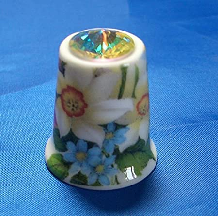 Porcelain China Collectable Thimble Daffodil Fairy