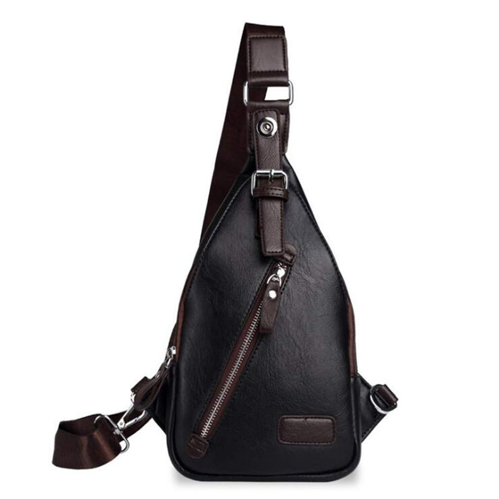 Amazon.com: Genuine Leather Mens Sling Bag Single Shoulder ...